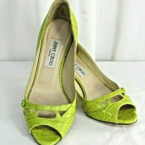 Jimmy Choo Green Leather Open Peep Toe Pumps